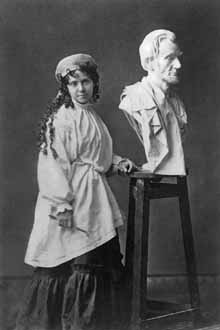 Vinnie Ream with award-winning bust of Abraham Lincoln